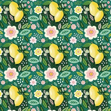 Tricoline Limão Fundo Verde, 100% Algodão, Unid. 50cm x 1,50mt
