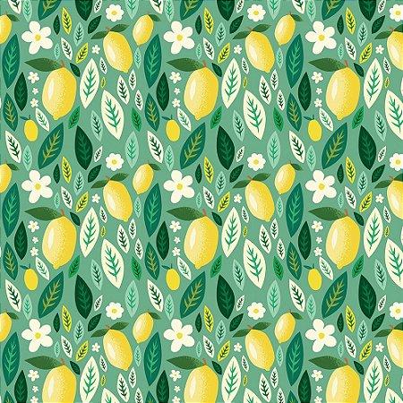 Tricoline Limão e Folhas, 100% Algodão, Unid. 50cm x 1,50mt