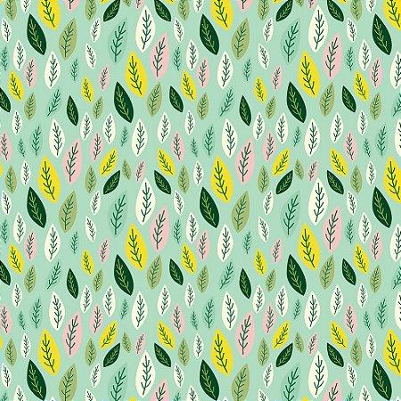 Tricoline Folhas de Limão, 100% Algodão, Unid. 50cm x 1,50mt