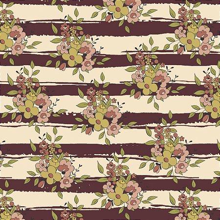 Tricoline Floral Aroma Listrado Vinho, 100% Algodão, Unid. 50cm x 1,50mt