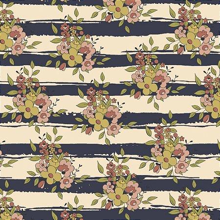 Tricoline Floral Aroma Listrado Marinho, 100% Algodão, Unid. 50cm x 1,50mt