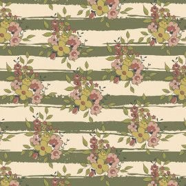 Tricoline Floral Aroma Listrado Musgo, 100% Algodão, Unid. 50cm x 1,50mt