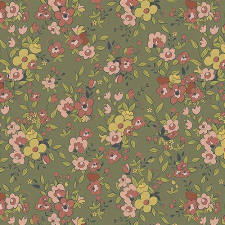 Tricoline Floral Aroma Musgo, 100% Algodão, Unid. 50cm x 1,50mt