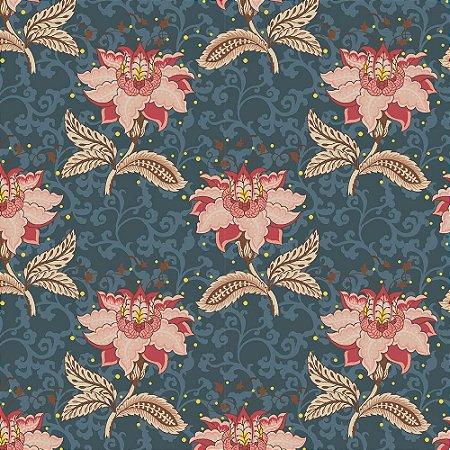 Tricoline Floral Arabesque Jacobean Petróleo, 100% Algodão, Unid. 50cm x 1,50mt