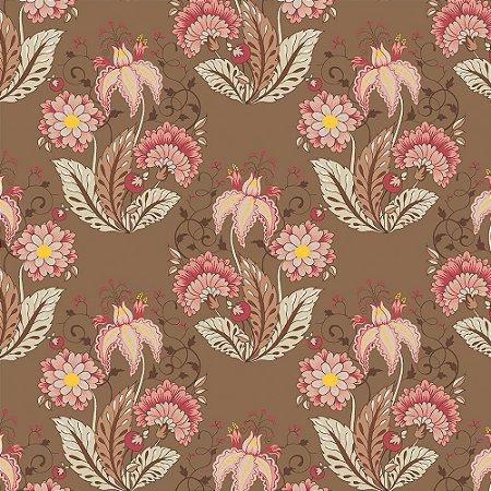 Tricoline Floral Arabesque Jacobean Marrom, 100% Algodão, Unid. 50cm x 1,50mt