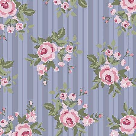 Tricoline Floral Lavanda, 100% Algodão, Unid. 50cm x 1,50mt