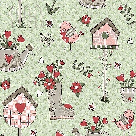 Tricoline Garden Menta, 100% Algodão, Unid. 50cm x 1,50mt