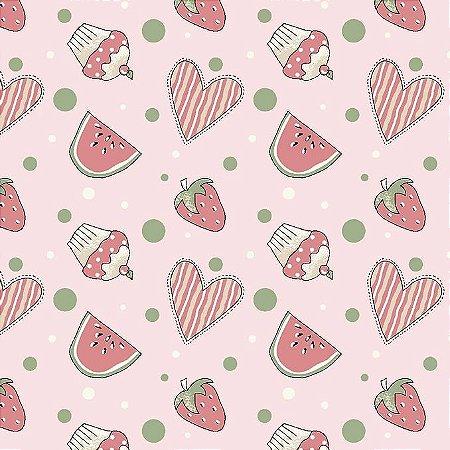 Tricoline Mini Morangos e Cupcakes Rosa, 100% Algodão, Unid. 50cm x 1,50mt