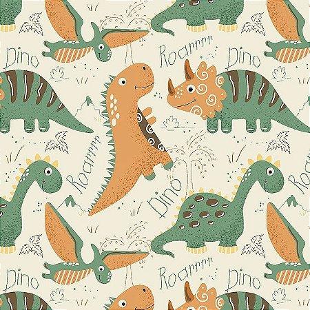 Tricoline Dinos Terra, 100% Algodão, Unid. 50cm x 1,50mt