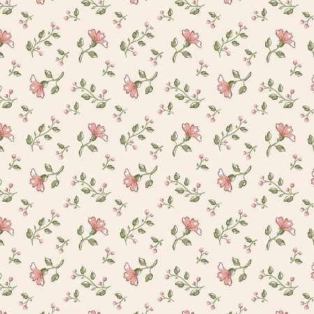Tricoline Floral Campestre Bege, 100% Algodão, Unid. 50cm x 1,50mt