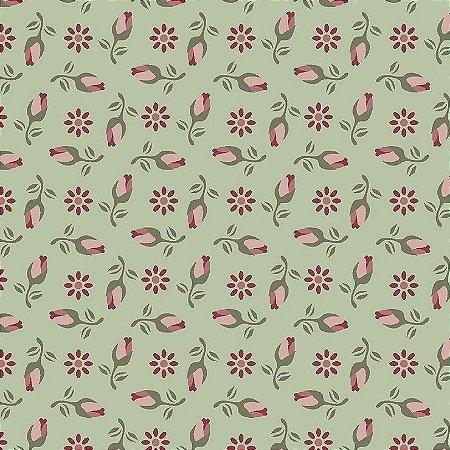 Tricoline Mini Rosas Fundo Verde, 100% Algodão, Unid. 50cm x 1,50mt