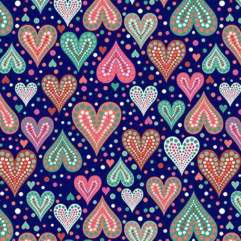Tricoline Amor Urbano- Corações marinho - 100% Algodão, Unid. 50cm x 1,50mt