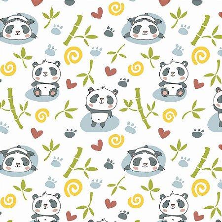 Tricoline Panda com Bambu, 100% Algodão, Unid. 50cm x 1,50mt
