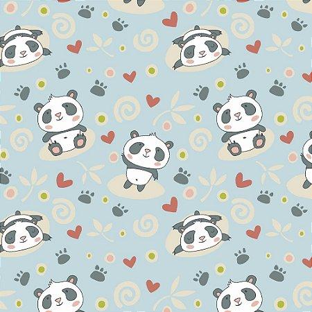 Tricoline Pandas, 100% Algodão, Unid. 50cm x 1,50mt