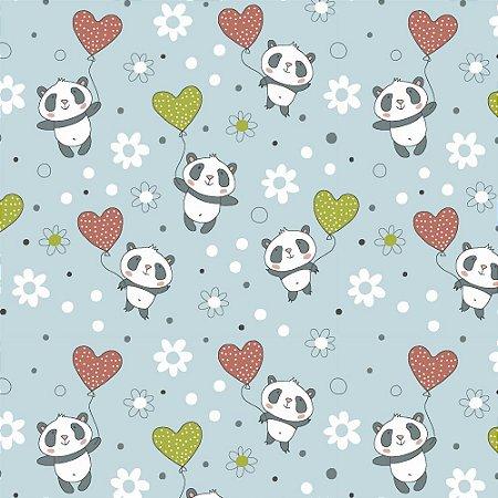 Tricoline Panda com Balões, 100% Algodão, Unid. 50cm x 1,50mt