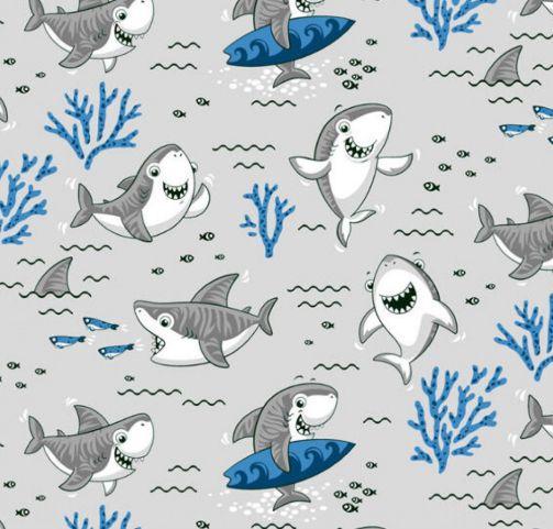 Tricoline shark - cinza , 100% Algodão, Unid. 50cm x 1,50mt