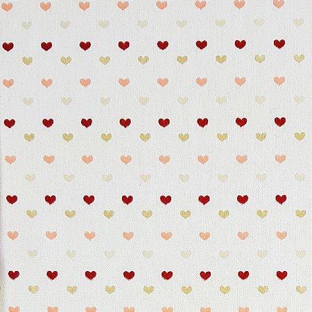 Tricoline Corações Amor - Cor 07, 100% Algodão, Unid. 50cm x 1,50mt