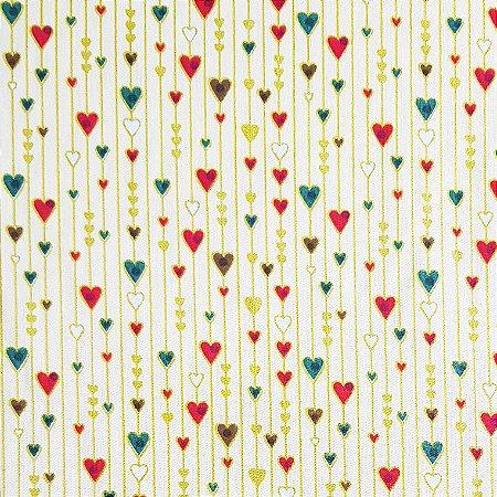 Tricoline Corações Natal - Claro, 100% Algodão, Unid. 50cm x 1,50mt