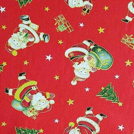 Tricoline Papai Noel , 100% Algodão, Unid. 50cm x 1,50mt