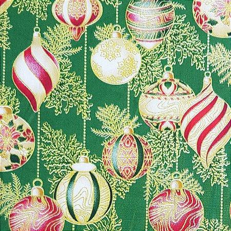 Tricoline Natal - Bolas verde, 100% Algodão, Unid. 50cm x 1,50mt