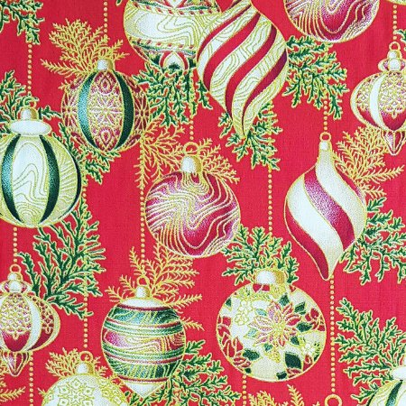 Tricoline Natal - Bolas Vermelhas 100% Algodão, Unid. 50cm x 1,50mt
