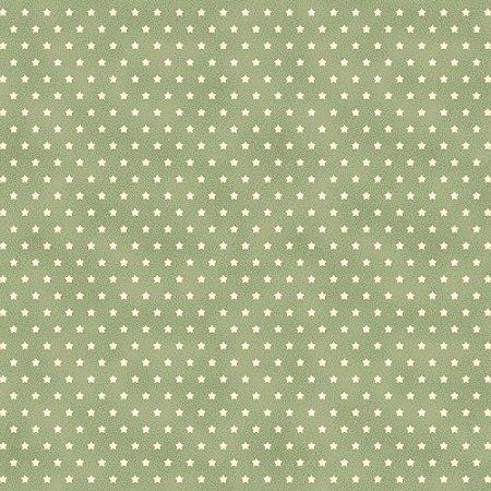 Tricoline Estrelinha Verde Maçã, 100% Algodão, Unid. 50cm x 1,50mt