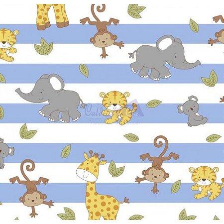 Tricoline Safari Listrado - Azul Bebê , 100% Algodão, Unid. 50cm x 1,50mt