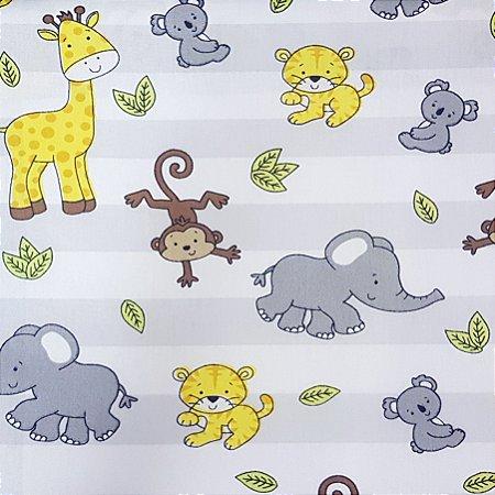 Tricoline Safari Listrado - Cinza , 100% Algodão, Unid. 50cm x 1,50mt