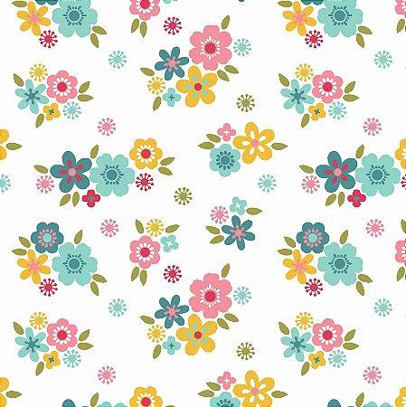 Tricoline Florzinhas Fundo Branco  - 100% Algodão, Unid. 50cm x 1,50mt