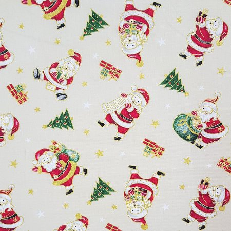 Tricoline Natal - Papai Noel Fundo Cru, 100% Algodão, Unid. 50cm x 1,50mt