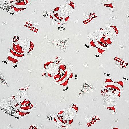 Tricoline Natal - Papai Noel Fundo Branco, 100% Algodão, Unid. 50cm x 1,50mt