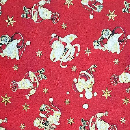 Tricoline Natal - Papai Noel Fundo Vermelho, 100% Algodão, Unid. 50cm x 1,50mt