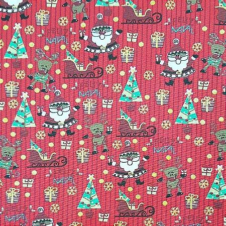 Tricoline Natal - Papai Noel Com Trenó Vermelho, 100% Algodão, Unid. 50cm x 1,50mt