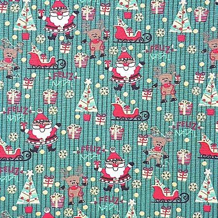 Tricoline Natal - Papai Noel Com Trenó Verde, 100% Algodão, Unid. 50cm x 1,50mt