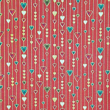 Tricoline Natal - Corações Pequenos Vermelho, 100% Algodão, Unid. 50cm x 1,50mt