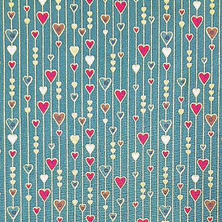 Tricoline Natal - Corações Pequenos Verde, 100% Algodão, Unid. 50cm x 1,50mt