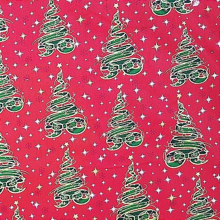Tricoline Natal - Árvores de Fitas Vermelho, 100% Algodão, Unid. 50cm x 1,50mt