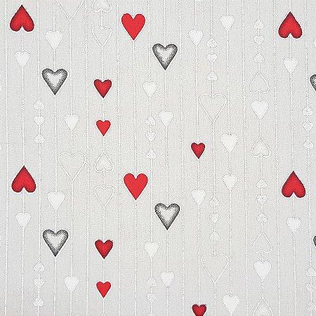 Tricoline Natal - Corações Grandes Cinza, 100% Algodão, Unid. 50cm x 1,50mt