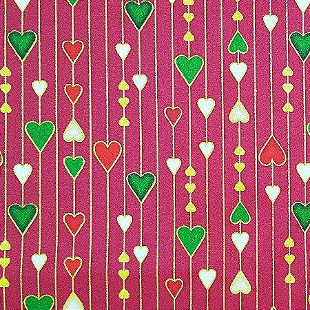 Tricoline Natal - Corações Grandes Vermelho, 100% Algodão, Unid. 50cm x 1,50mt