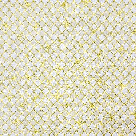 Tricoline Natal - Neutro Dourado Fundo Cru, 100% Algodão, Unid. 50cm x 1,50mt