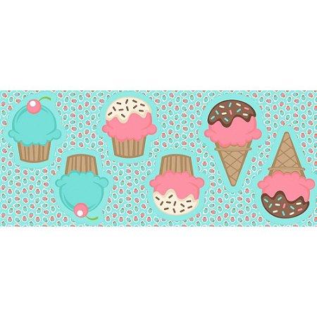 Tricoline Painel Pillow Cupcake, 100% Algodão, Unid. 63cm x 1,50mt