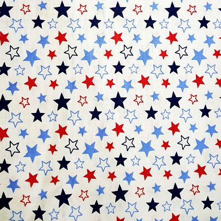 Tricoline Estrelas Star - Vermelho com Marinho100% Algodão, Unid. 50cm x 1,50mt