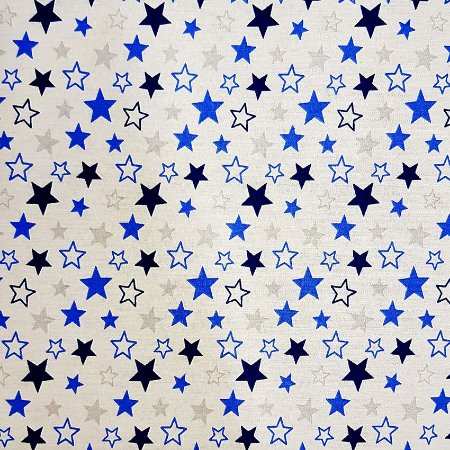 Tricoline Estrelas Star - Cinza e Azul 100% Algodão, Unid. 50cm x 1,50mt