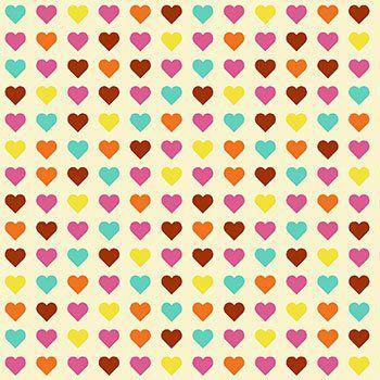 Tricoline Corações Coloridos - Claro , 100% Algodão, Unid. 50cm x 1,50mt