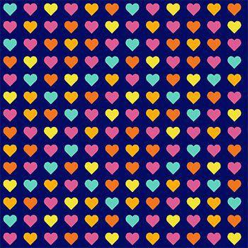 Tricoline Corações Coloridos - Azul , 100% Algodão, Unid. 50cm x 1,50mt