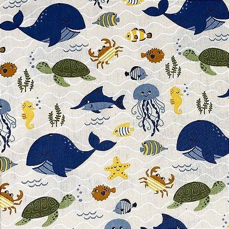 Tricoline Fundo do Mar cor-06 (Jeans)  , 100% Algodão, Unid. 50cm x 1,50mt