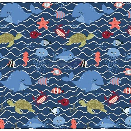 Tricoline Fundo Do Mar Cor - 01 (Marinho)  , 100% Algodão, Unid. 50cm x 1,50mt