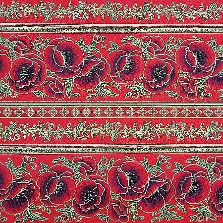 Tricoline Natal - Faixas de Rosas Vermelha, 100% Algodão, Unid. 50cm x 1,50mt