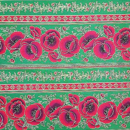 Tricoline Natal - Faixas de Rosas Verde, 100% Algodão, Unid. 50cm x 1,50mt