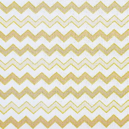 Tricoline Natal - Chevron Dourado, 100% Algodão, Unid. 50cm x 1,50mt